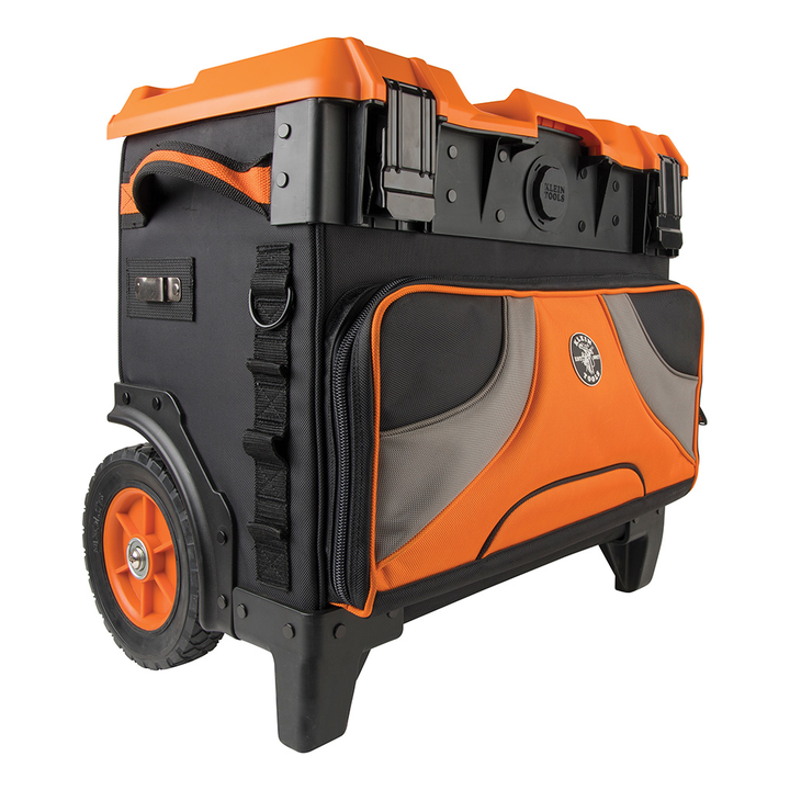 Klein Tools' Tradesman Pro Tool Master Rolling Tool Bag includes 8-inch wheels for high clearance in rugged terrain.