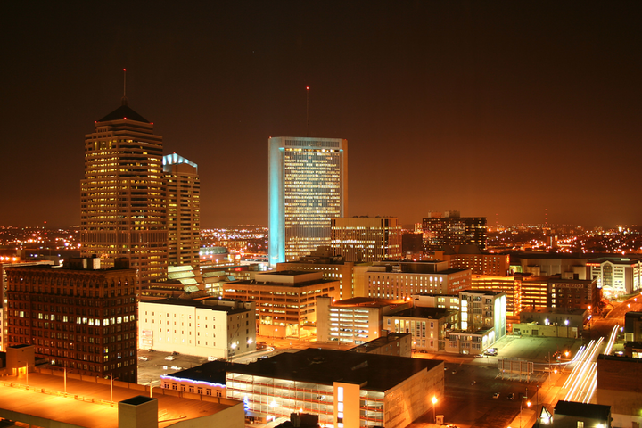 North side of Columbus, Ohio, looking across 3rd Street toward One Nationwide Plaza.
